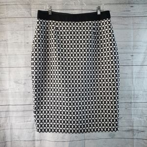 Banana Republic Jacquard Pencil Skirt Sz 14 Black